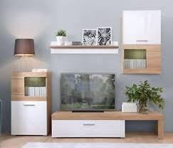 White Gloss Oak MODERN Living Room Furniture Set Wall Cabinet TV - Oak living room sets