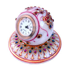 gold painted handmade round marble table clock decorative