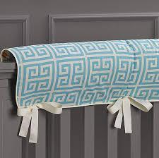 aqua greek key bumperless crib bedding liz and roo