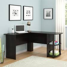 Leaning Bookshelf With Desk Ameriwood Furniture L Shaped Desk With 2 Shelves In Dark Russet