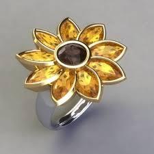sunflower engagement ring flower rings flower engagement rings and wedding bands