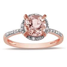 overstock engagement rings miadora 10k gold 1 1 6ct morganite and 1 4ct tdw