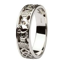 the gents wedding band claddagh celtic knots pave diamond set gents white gold wedding