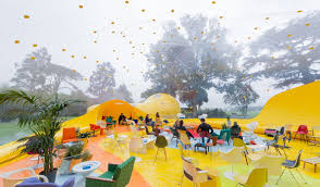 inflatable second dome transforms from small bubble to huge event