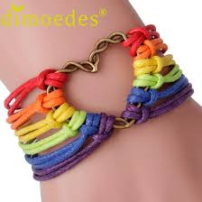 bracelet rainbow images Wholesale charmdemon rainbow flag pride lgbt charm heart braided jpg