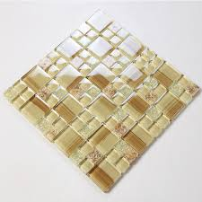 glass tile hand paint cystal glass resin with shell tile