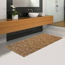 Bath Mat Runner Brown Rubber Backed Non Slip Hallway Kitchen Bathroom Runner Mat