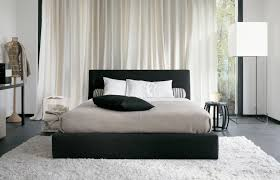 Furry Black Rug Bedroom Modern Black Leather Tufted Bed Stool In Chrome Pedestal