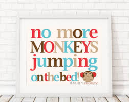 10 Monkeys Jumping On The Bed Monkey Wall Art Etsy