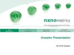 Seeking Cap 1 Nanometrics Nano Presents At Midtown Cap Summit Nanometrics