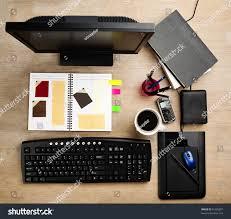 Desk Mug Designer Working Desk Filled Computer Scrapbook Stock Photo