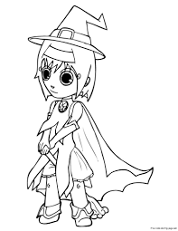 print out halloween cut girls in witch costumes coloring pagesfree