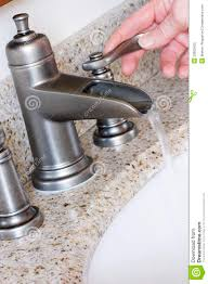 modern bathroom taps in brushed nickel stock photo image 22852420