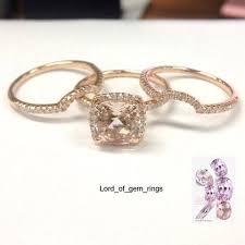 morganite wedding set cushion morganite engagement ring trio sets diamond wedding 14k