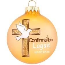 personalized confirmation dove cross glass ornament religious