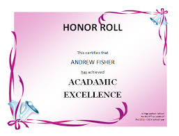 honor roll certificate template microsoft word templates
