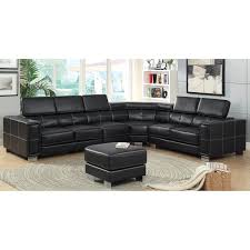 Black Leather Sectional Sofa Furniture Of America Riverton 2 Piece Sectional Sofa With Optional