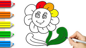 coloring pages flowers drawing u0026 colouring for kids w colored