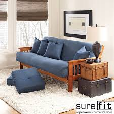 sure fit denim sofa slipcover sure fit cotton denim futon cover overstock shopping big