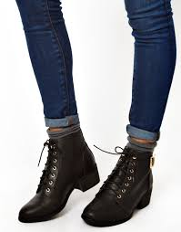 s heeled boots canada image 3 of look canada low block heel lace up ankle boots