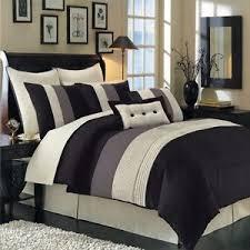 hudson luxury elegant comforter 8 piece black full size