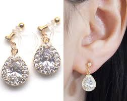 bridal clip on earrings bridal clip earrings etsy