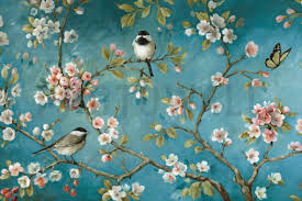 Block Print Wallpaper Blossom Wall Mural U0026 Photo Wallpaper Photowall Wallpaper
