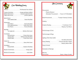 Christmas Wedding Programs 5 Best Images Of Wedding Program Format Samples Sample Christmas