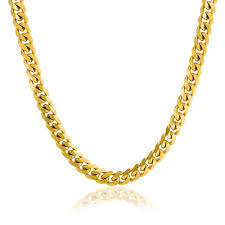 curb chain necklace mens images Mens gold plated stainless steel curb cuban chain necklace 8mm jpg