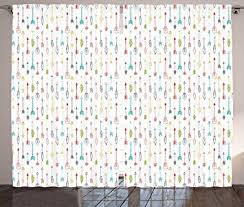 Colorful Patterned Curtains Arrow Curtains By Ambesonne Colorful Arrows Leaves