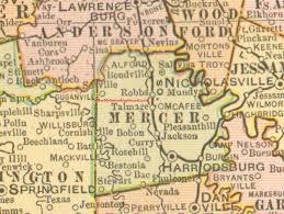 mercer map mercer county kentucky 1905 map harrodsburg ky