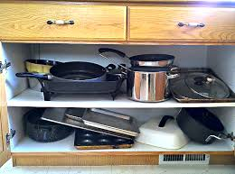 Cabinet Organizers For Pots And Pans Organizing The Dreaded Pots And Pans Cabinet One Good Thing By