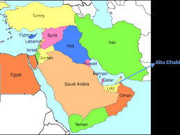 Map Of Abu Dhabi Uae Map Middle East Colourful Map Over Middle East With Abu Dhabi