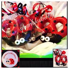 ladybug chocolate covered pretzels personalized favor