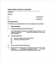 nanny contract template nanny contract template free nanny