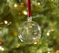 monogrammable glass ornament pottery barn