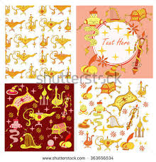 fairytale aladdin story theme elements jinn stock vector 363656534