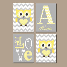 Gray And Yellow Nursery Decor Gray Owl Nursery On Wanelo
