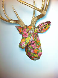 fabric deer head wall mount vibrant floral arrangement with gold