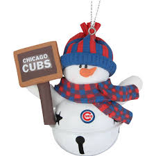 chicago cubs snowman bell with sign ornament mlbshop