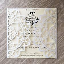 custom designed wedding invitations 30pcs laser cut pearl paper modern design wedding invitations