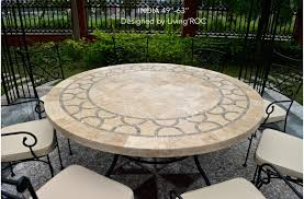 Travertine Patio Table 48quot 60quot Outdoor Patio Mosaic Marble Travertine
