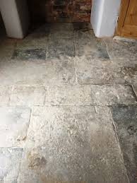 cleaning and restoring the appearance of an flagstone floor