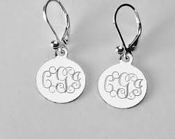 monogram earrings monogram earrings etsy