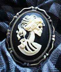 undead zombie princess cameo brooch pin halloween jewelry zombie