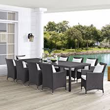 modway sojourn ii wicker 11 piece rectangular patio dining set