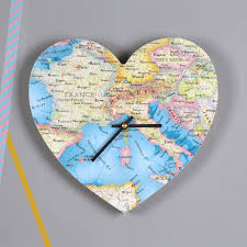 wedding gift map personalised map location heart wall clock wedding gift by bombus