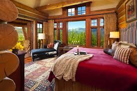 koselig hus log cabin master bedroom teton heritage builders