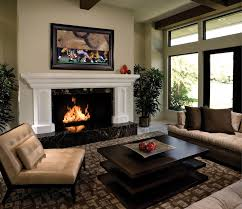 dark colored linen sofa living rooms with fireplaces polished
