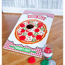 pizza birthday party customized printable pizza hole game